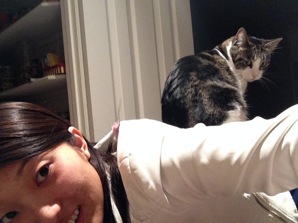 person leaning over with cat sitting on back