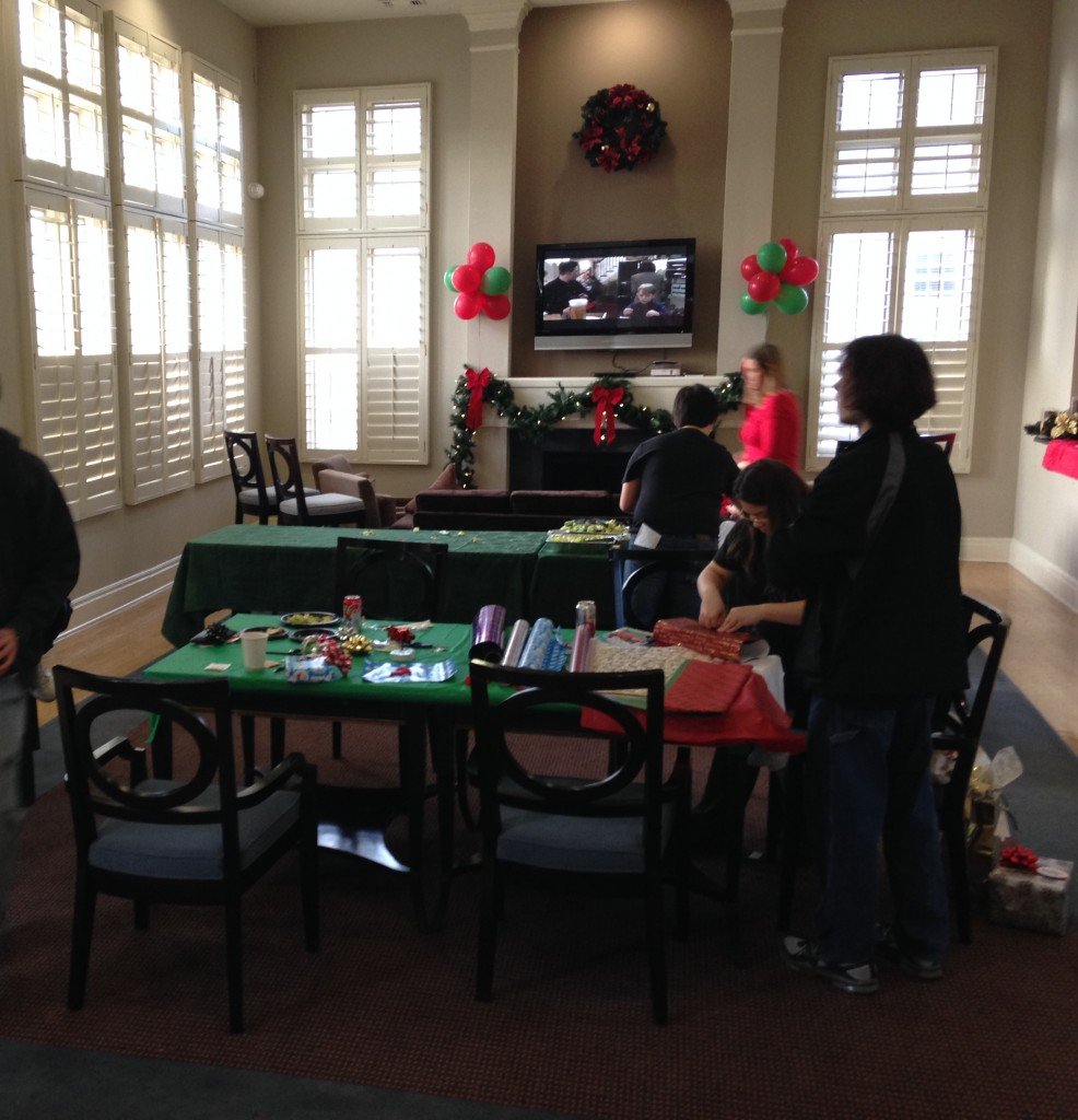 clubhouse set up for gift wrapping event