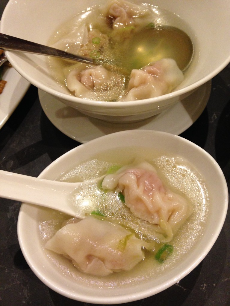 din tai fung shrimp and vegetables wonton soup in clear broth