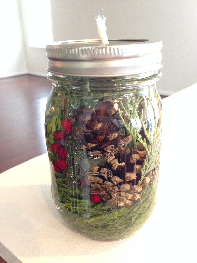 evergreen oil lamp from homegrown collective november 2013 box made with pine cones, evergreen clippings, berries, and parrafin oil in mason jar
