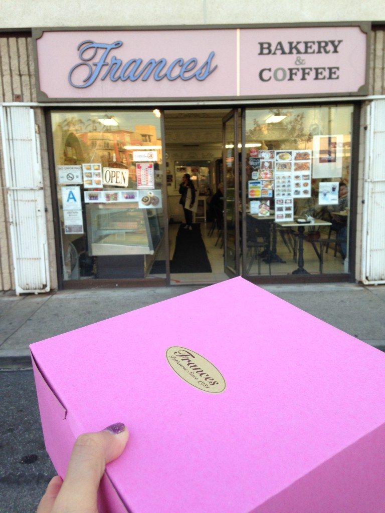 frances bakery shop and pink box of cronuts in little tokyo area of los angeles