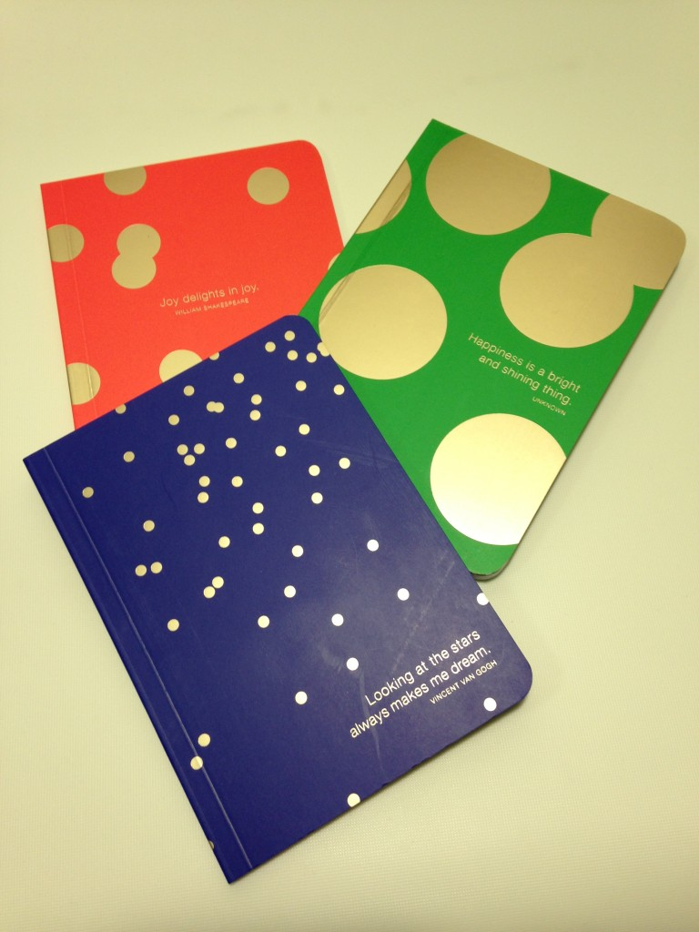 set of three notebooks by green inspired in blue, green, and red with gold dots and quotes