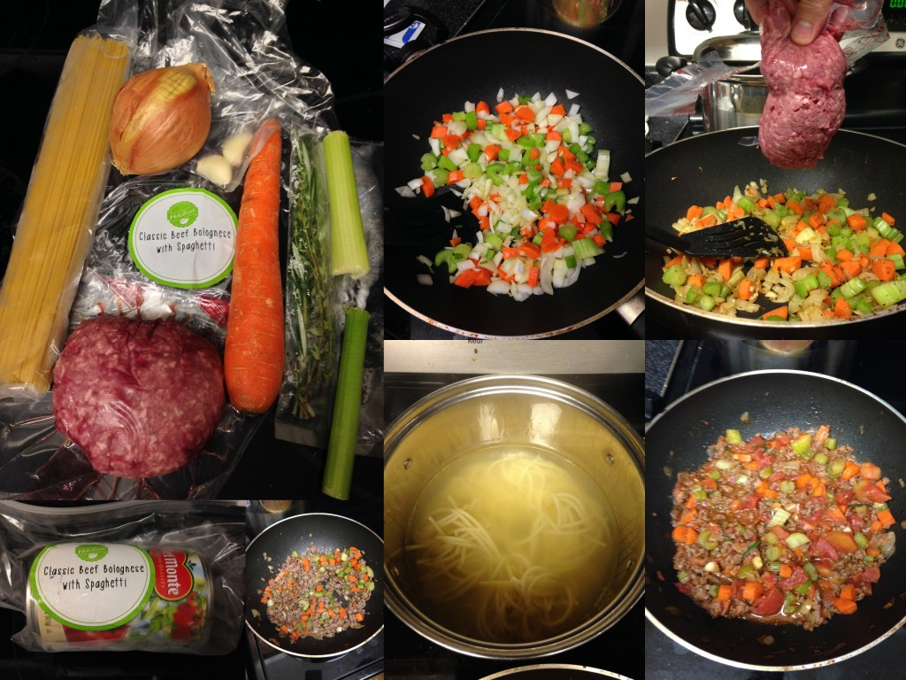 collage of hello fresh classic beef bolognese ingredients and meal being made