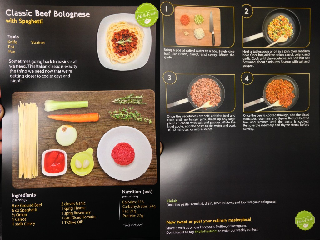 collage of hello fresh classic beef bolognese with spaghetti recipe card