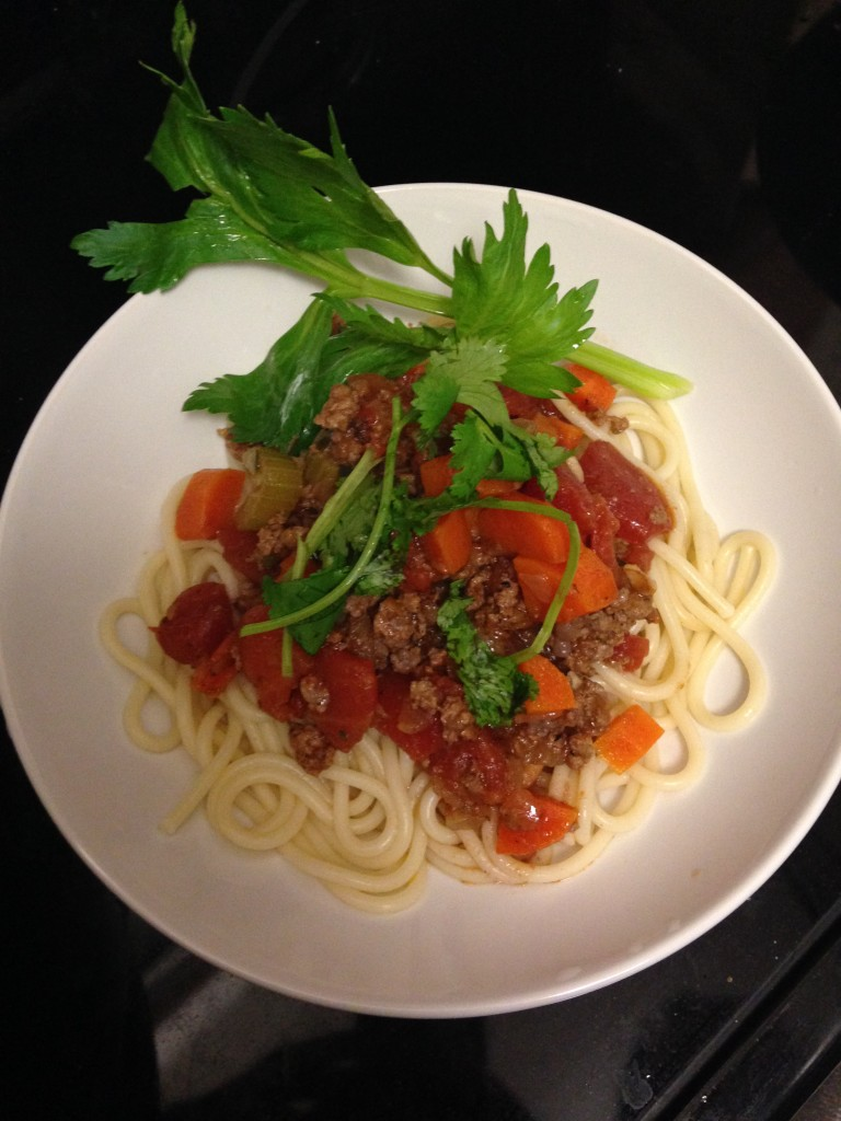 hello fresh classic beef bolognese with spaghetti dish finished product