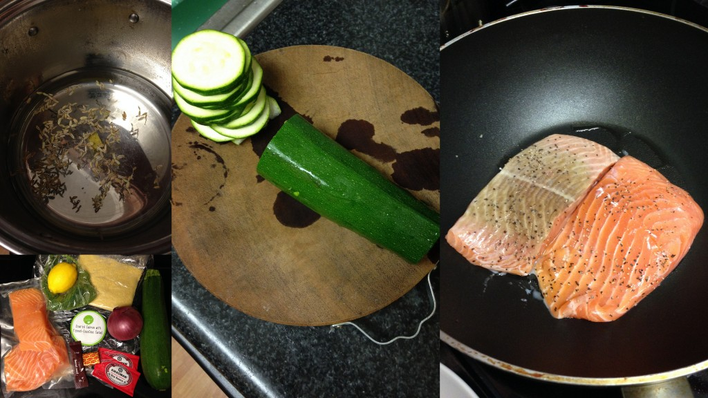 collage of hello fresh seared salmon ingredients and meal being made