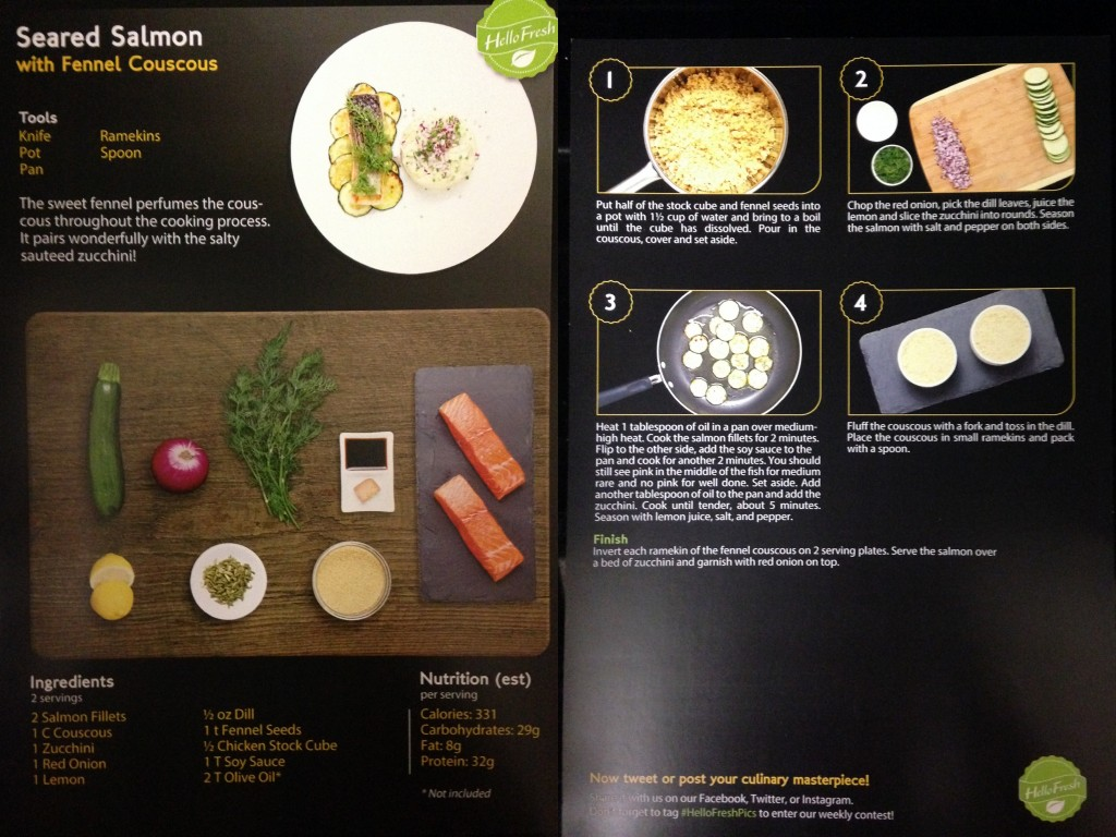 collage of hello fresh seared salmon with fennel couscous recipe card