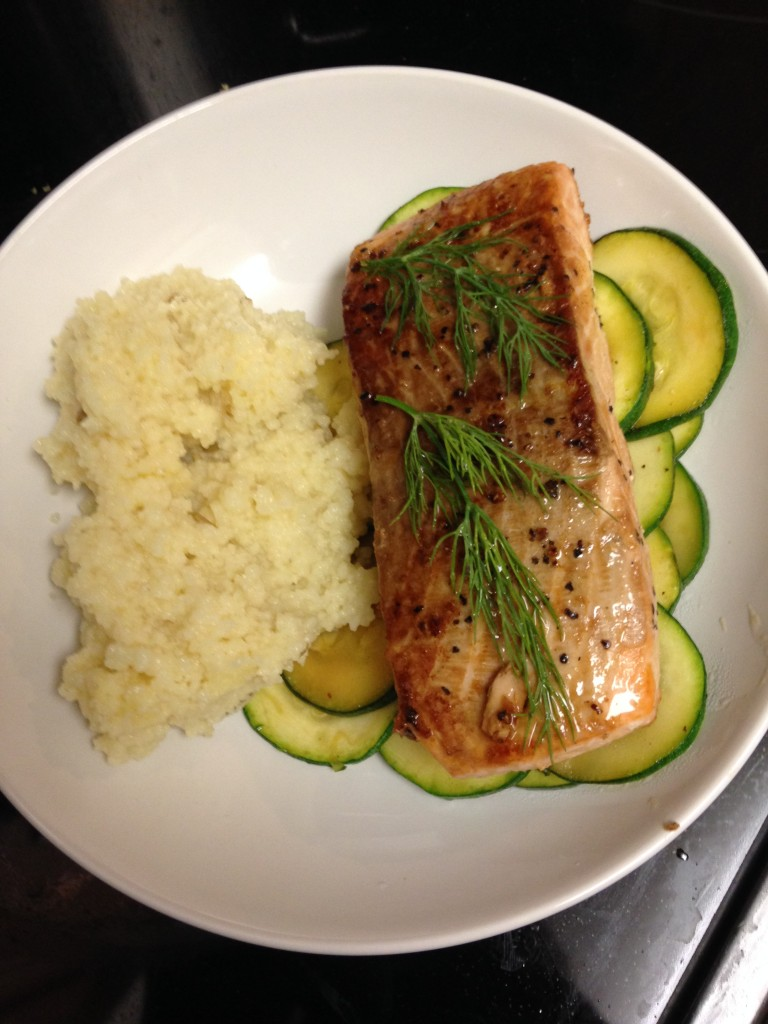 hello fresh seared salmon with fennel couscous dish finished product