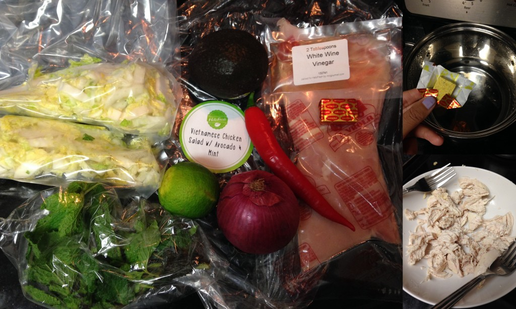 collage of hello fresh vietnamese chicken salad ingredients and meal being made