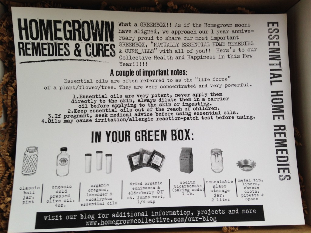 the homegrown collective december 2013 essential home remedies info card
