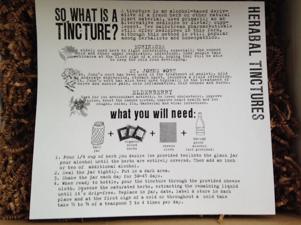 the homegrown collective december 2013 project herbal tinctures info card