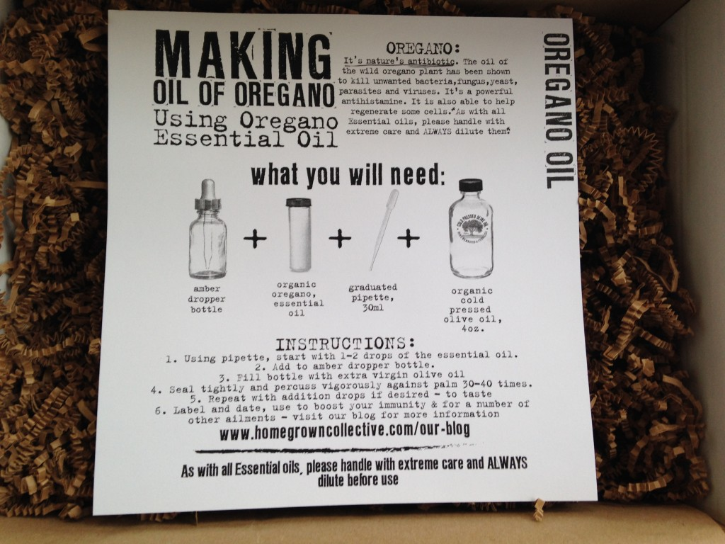 the homegrown collective december 2013 project oregano oil info card