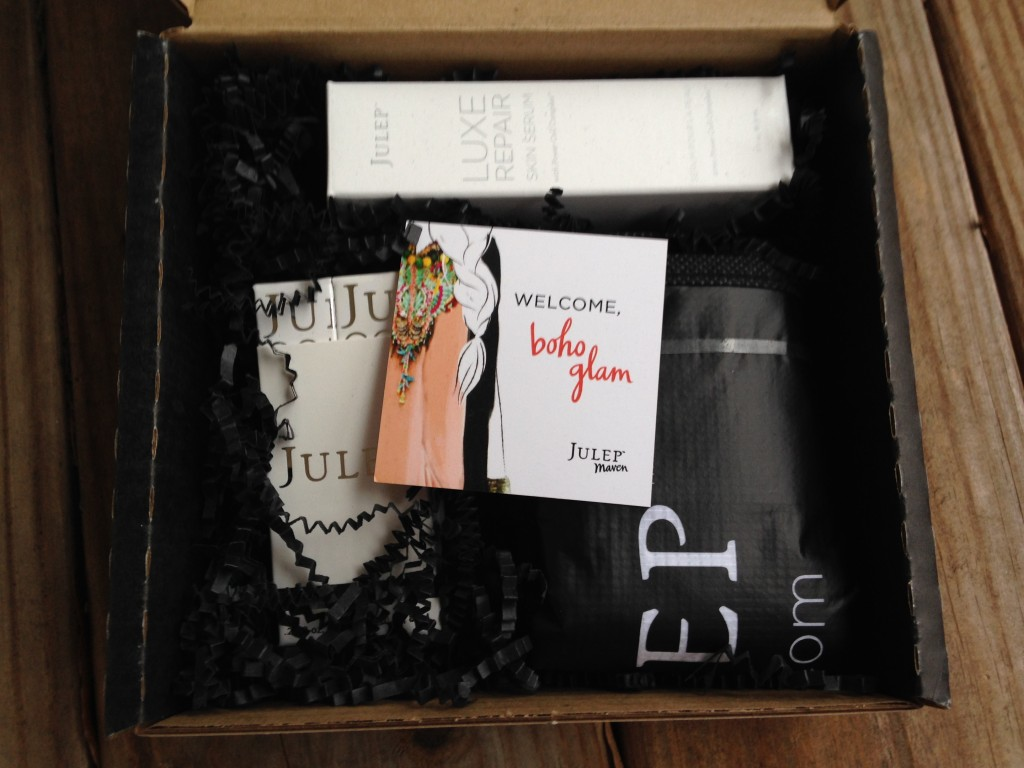 julep maven boho glam starter box contents with welcome card