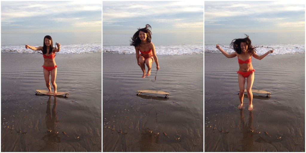 collage of girl in orange bikini jump roping off skateboard on sand with piece of seaweed