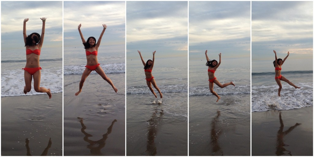 collage of girl in orange bikini jumping midair at beach