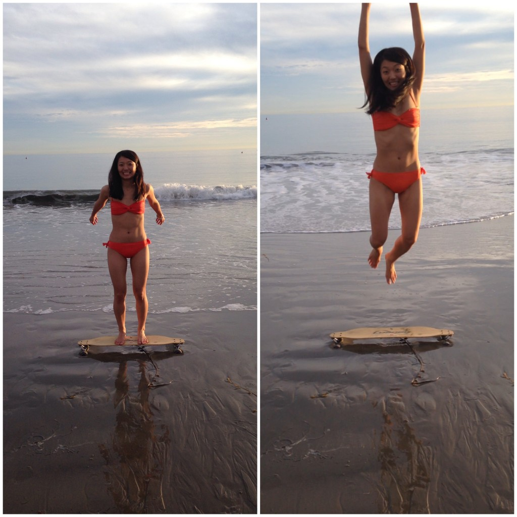 collage of girl in orange bikini jumping off skateboard on beach