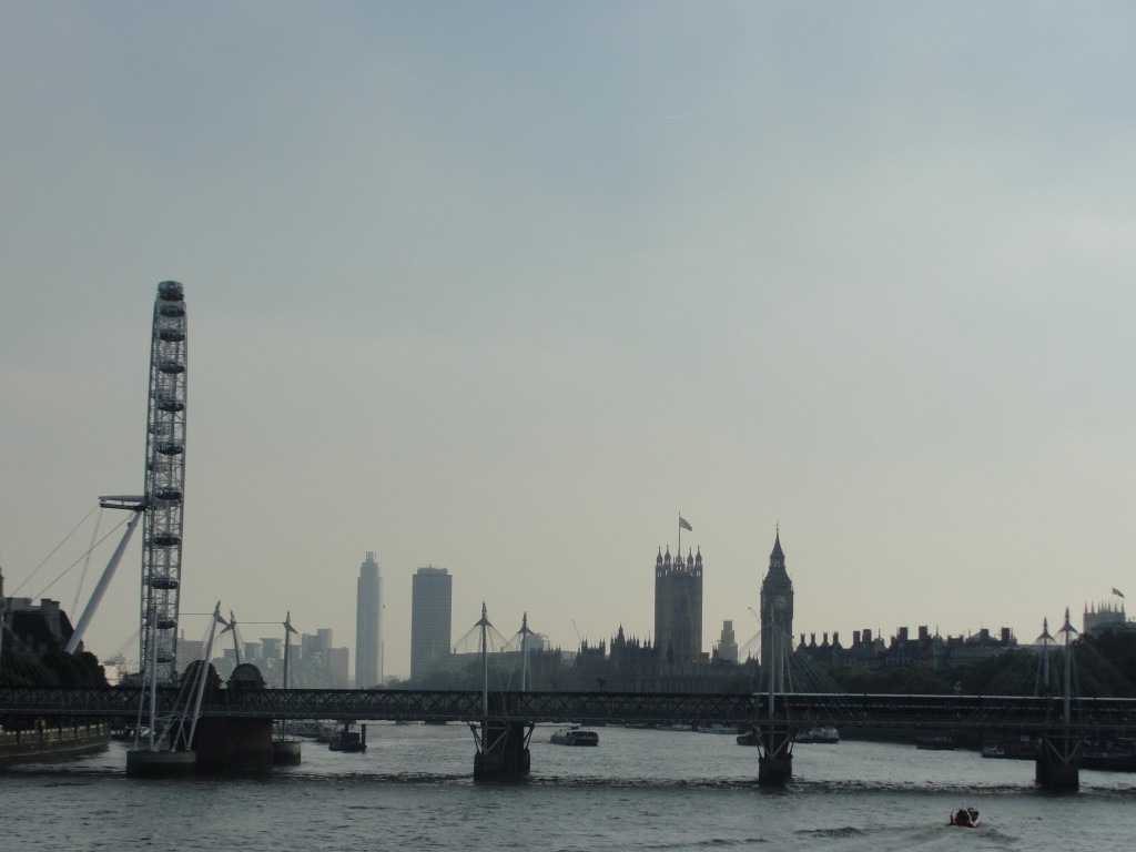 view of london eye, british parliament, and big ben from waterloo bridge