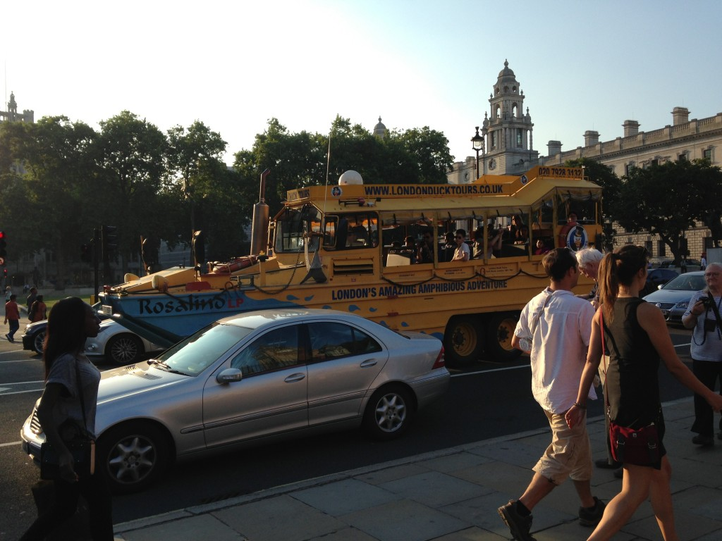 boat-shaped tour bus of london