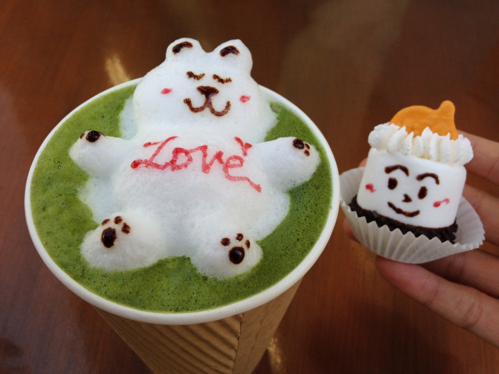 green tea latte art drink and marsh-minion treat from love to go in san gabriel