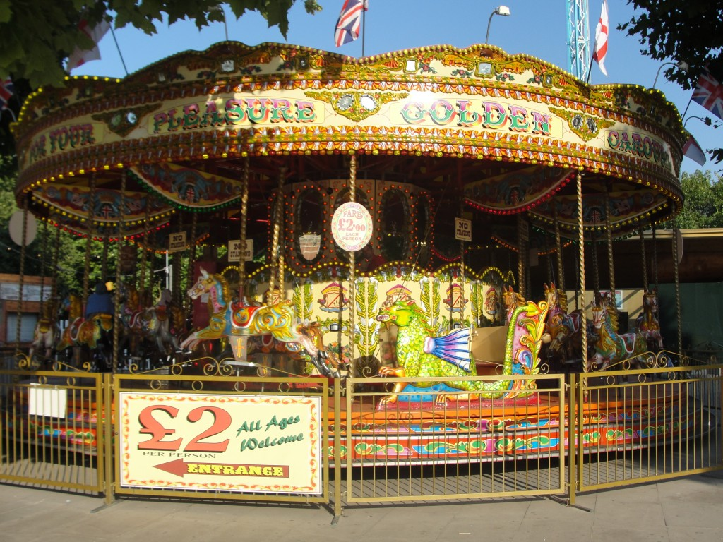 brightly-colored merry-go-round in london
