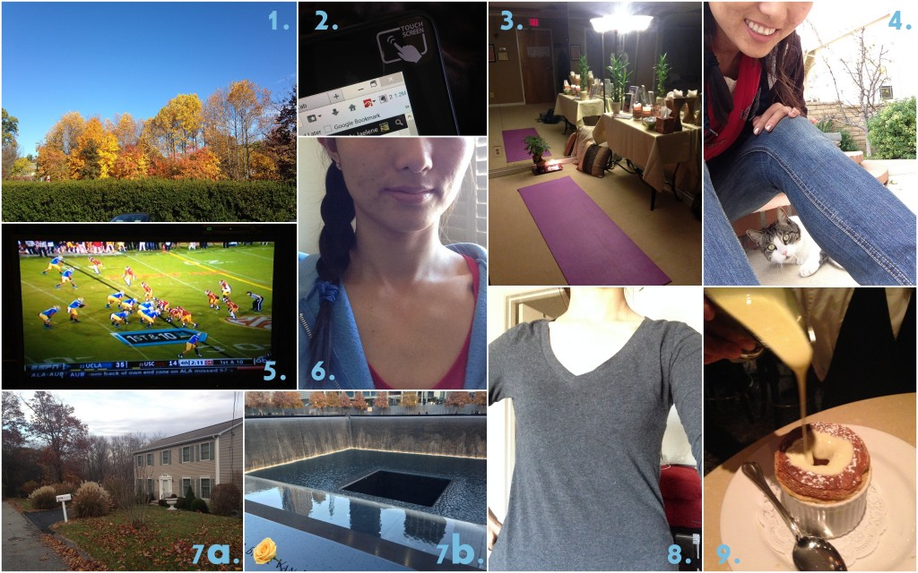 collage of november 2013 favorites including fall colors, touchscreen laptop, yoga, going home, bruins football, fun hair styles, revisiting new york, long sleeve v-necks, and pumpkin flavored