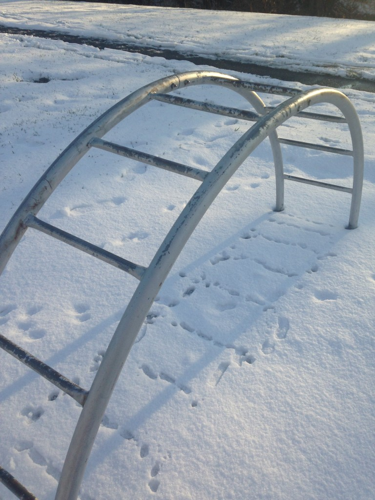 metal playground equipment with bars in arch shape