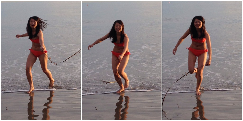 collage of girl in orange bikini jumping over strand of seaweed at beach