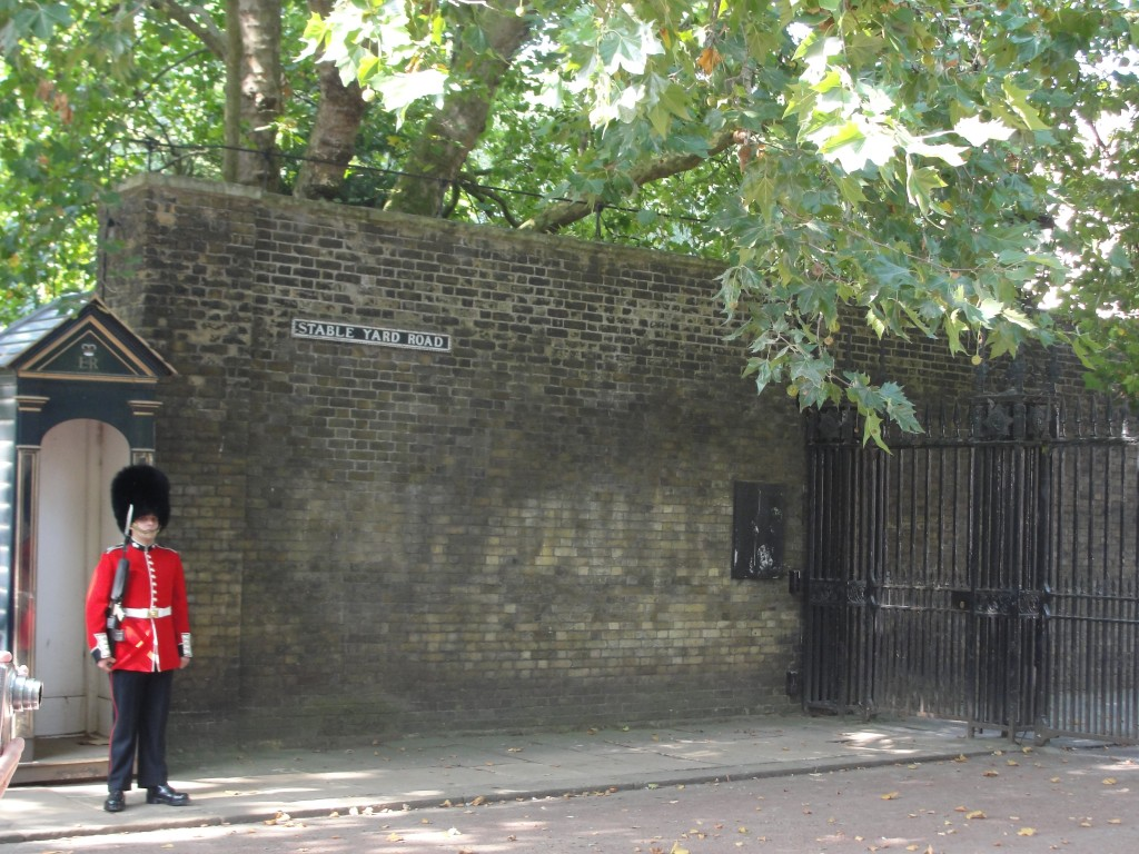 queen's guard standing by gate