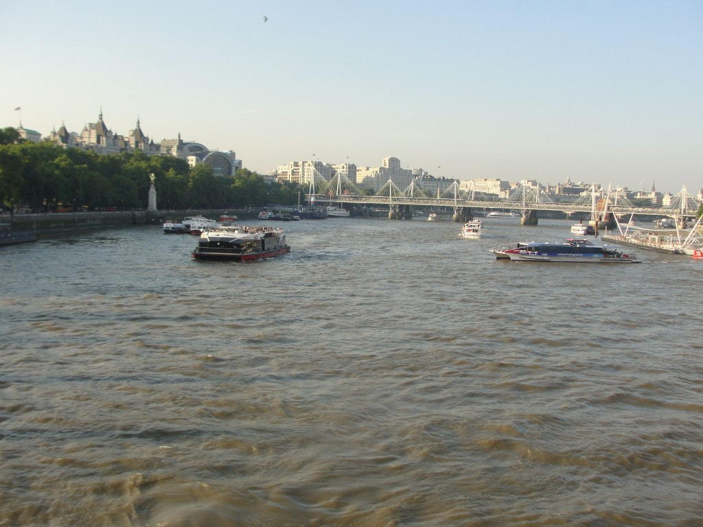 choppy waters of river thames
