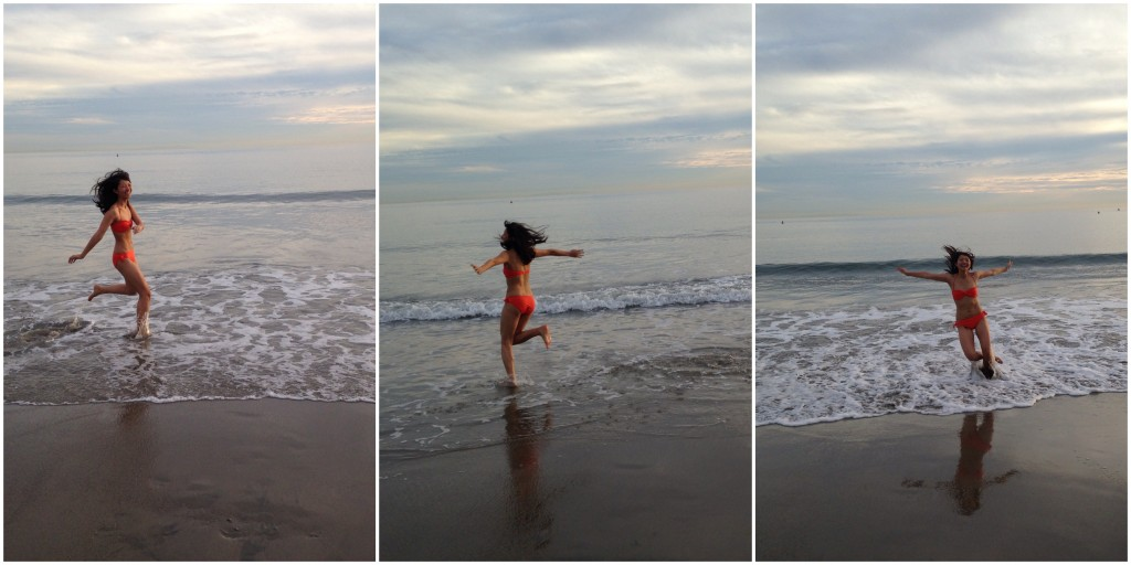 collage of girl in orange bikini running around on beach in shallow ocean water