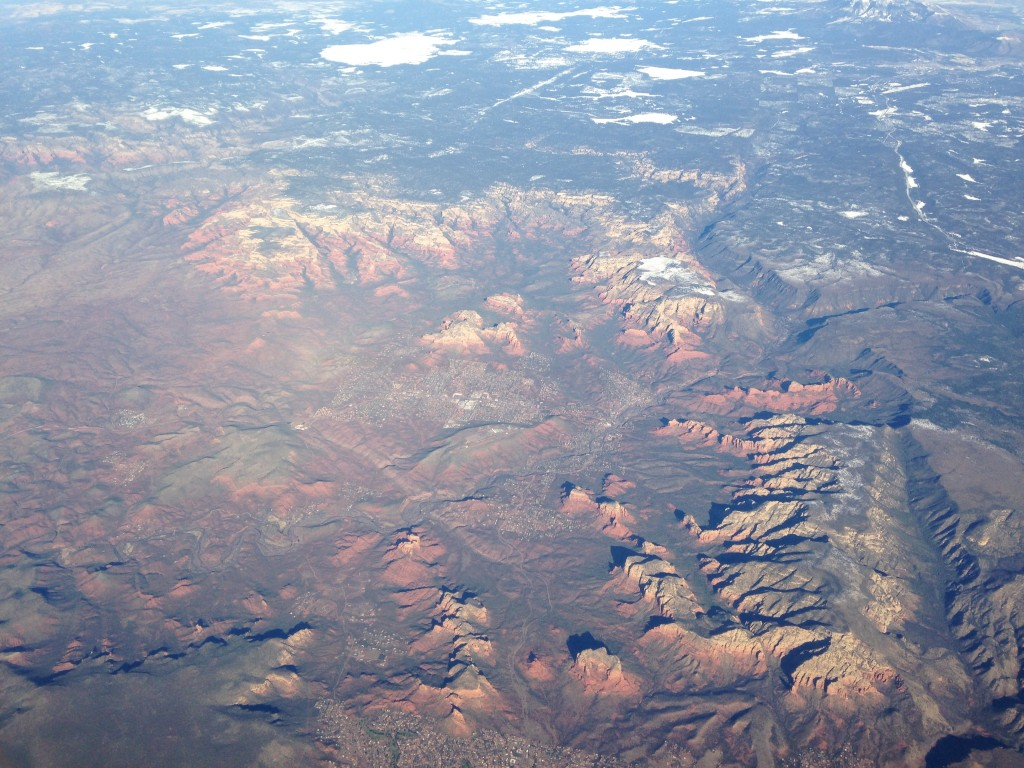 aerial view of sedona arizona red rock state park landscape