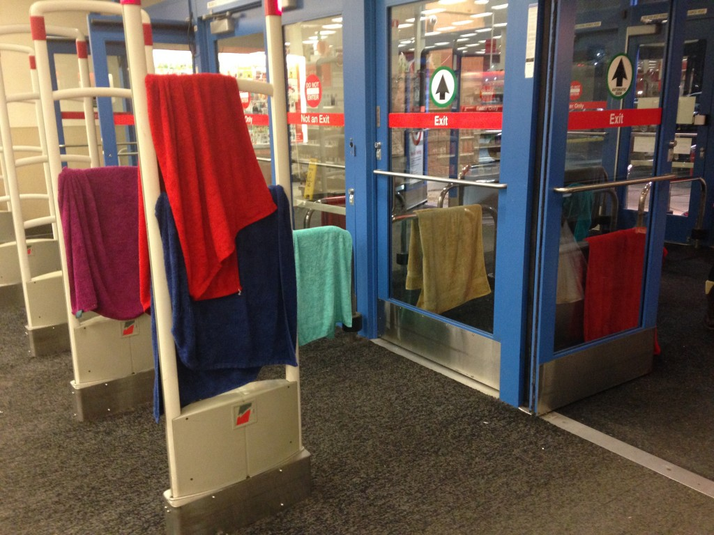 colorful bunch of towels hanging out to dry in target store