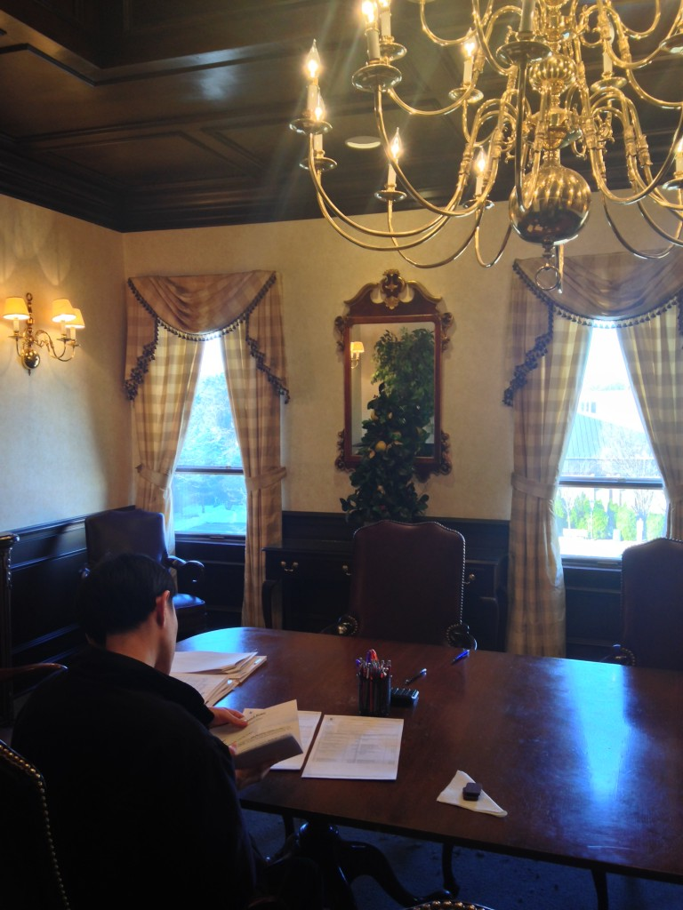 fancy room at title company for going through settlement paperwork