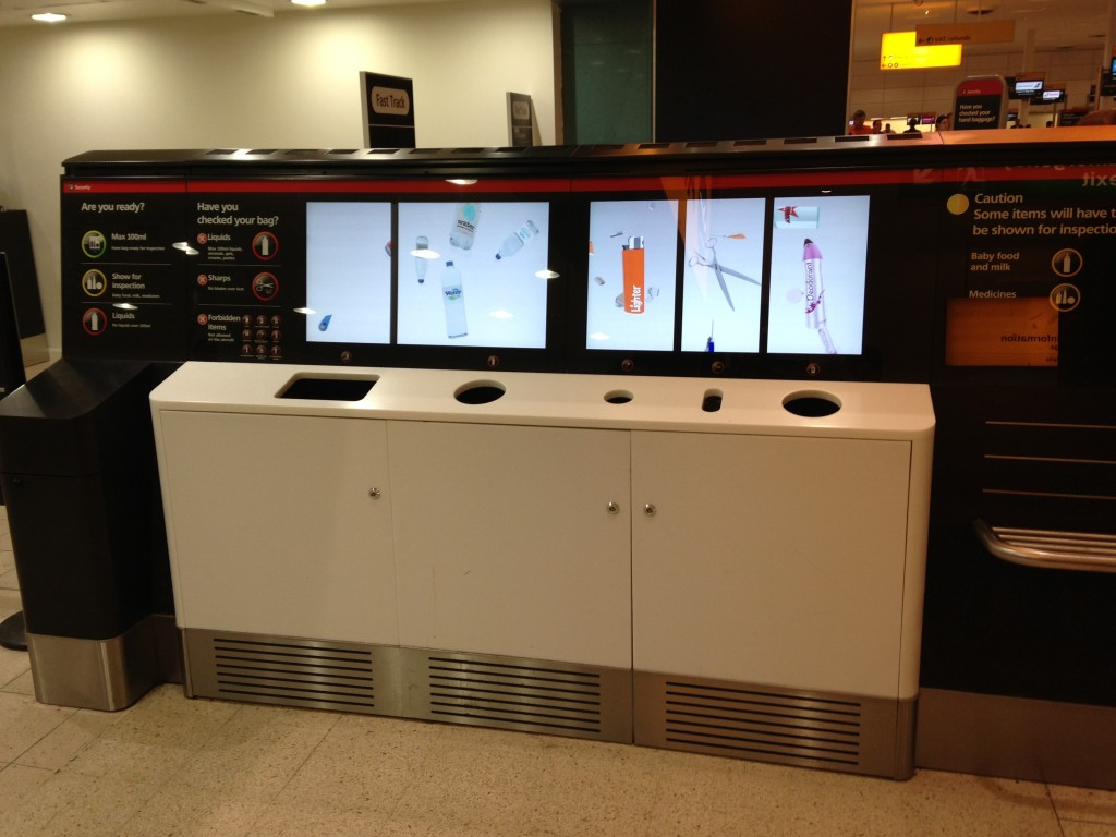 electronic collection station for bottles, sharp objects, and other banned goods at london heathrow airport