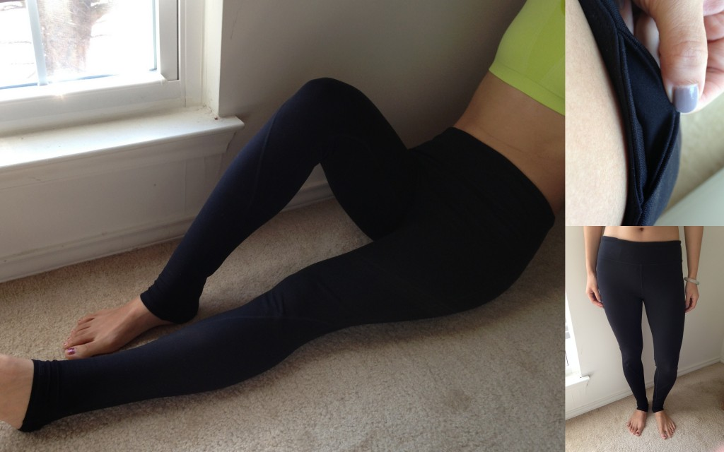 collage of front, length, and hidden pocket of fabletics asaro legging in black