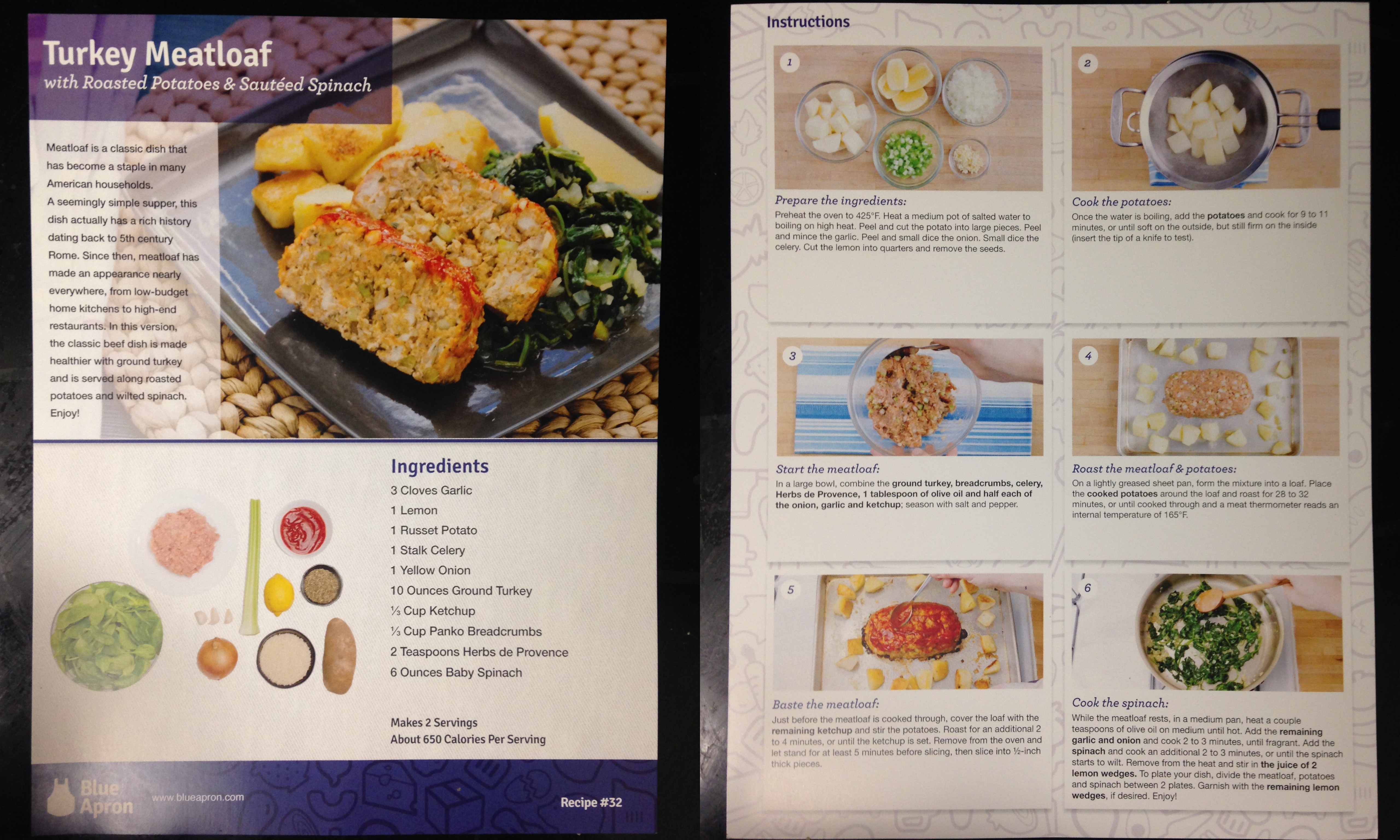 Blue apron olive oil - Collage Of Blue Apron Turkey Meatloaf With Roasted Potatoes And Sauteed Spinach Recipe Card