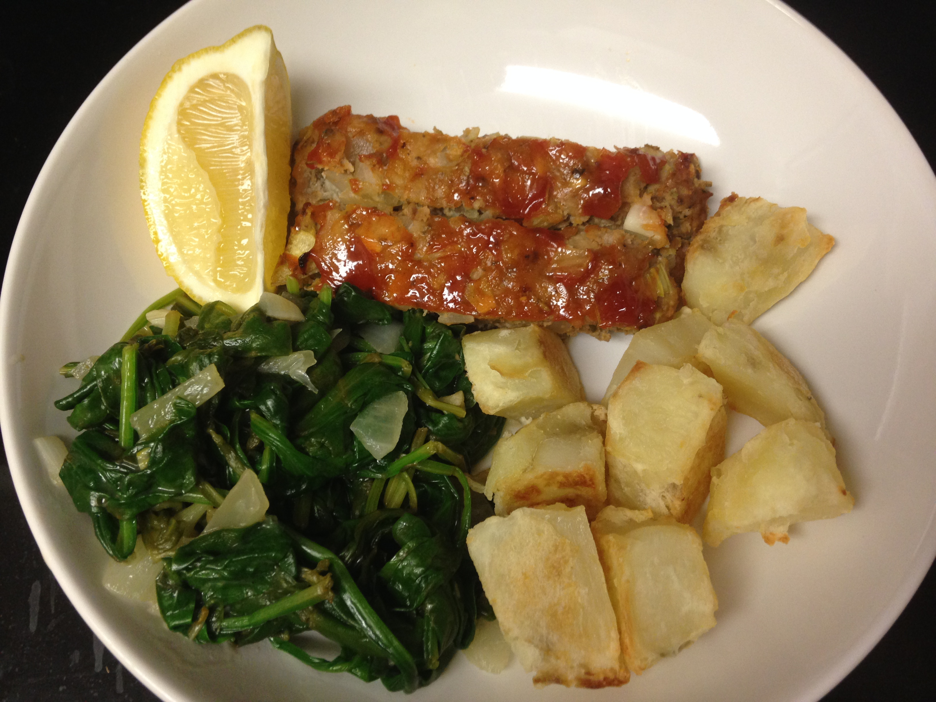 Blue apron turkey burger - Blue Apron Turkey Meatloaf With Roasted Potatoes And Sauteed Spinach Finished Product