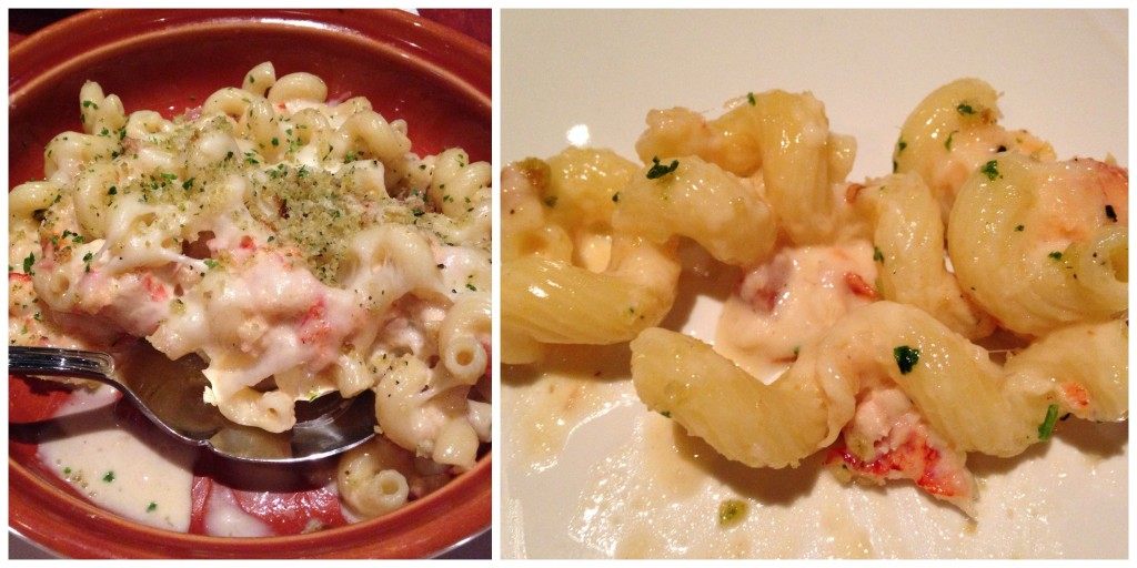 collage of carrabbas lobster mac & cheese sample