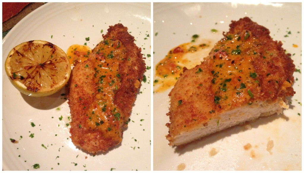 collage of carrabbas parmesan-crusted chicken entree sample