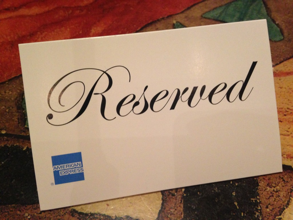 carrabbas reserved sign with american express branding
