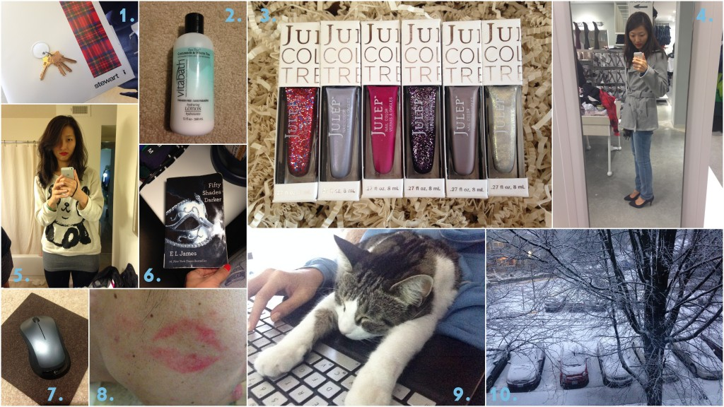 collage of december 2013 favorites including home ownership, vitabath lotion, julep, wrapp deals, sweaters, reading, wireless mouse, red lips, cat time, and snow