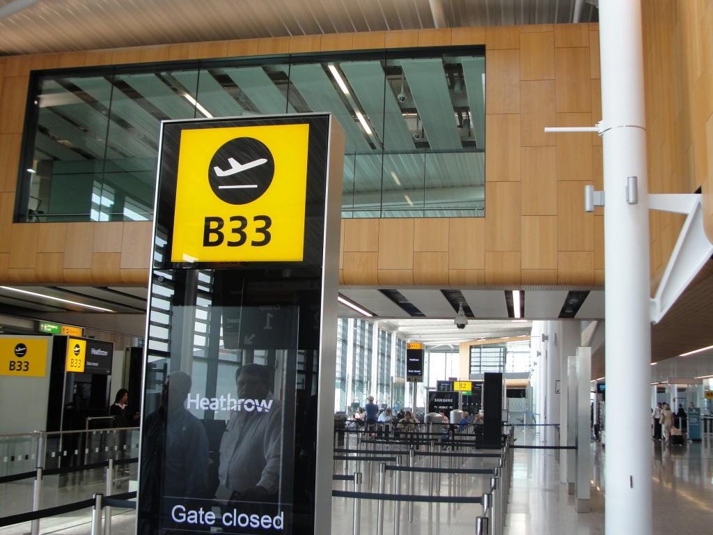 gate b33 in london heathrow airport