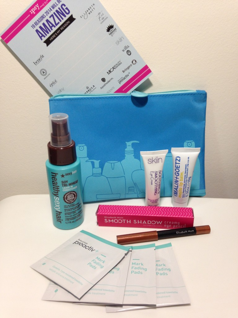 ipsy january 2014 bag items with card including sexyhair soy tri-wheat leave-in conditioner, skiin soothing & smoothing eye cream, malin+goetz mojito lip balm, elizabeth mott smooth shadow creamy eye pencil in penny, and proactiv+ mark fading pads