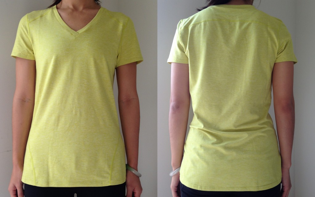 collage of front and back of fabletics lorida v-neck top in ultra lemon heather