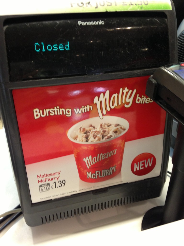 maltesers mcflurry ad on cash register at london mcdonald's