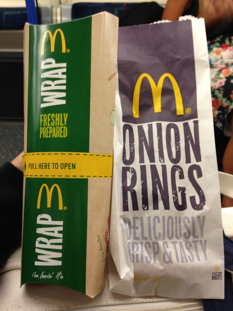 british mcdonald's choices with wrap and onion rings