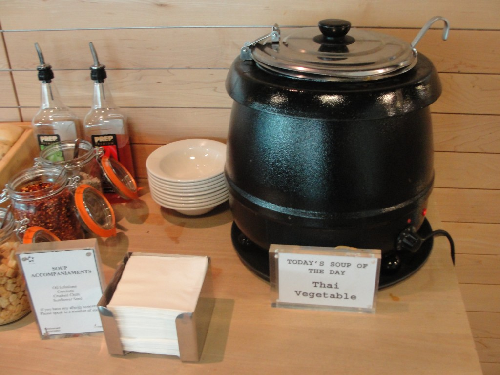 large heated pot of soup