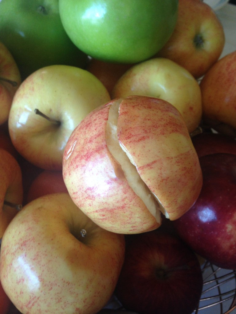 apple that burst around the middle and split apart