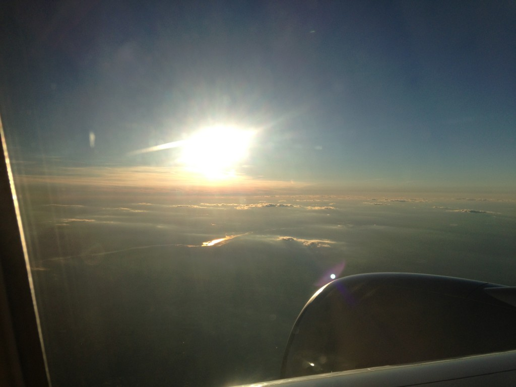 bright glare of sun from window of airplane