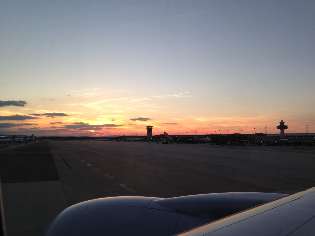 sunset from airplane at washington dulles iad airport